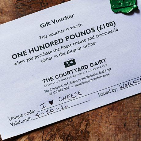 Cheese gift voucher £100