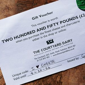 Cheese gift voucher £250