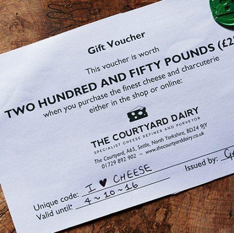Cheese gift voucher £250