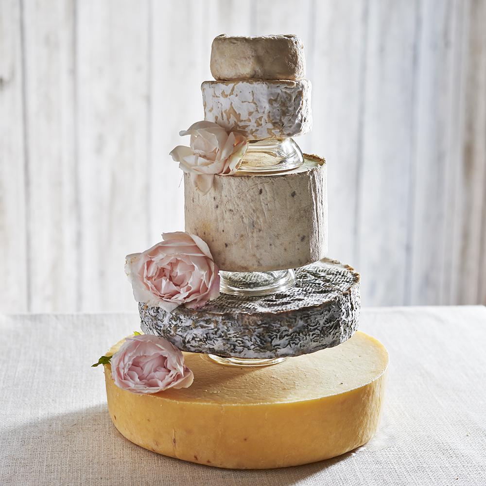 Opal cheese wedding cake separators - The Courtyard Dairy