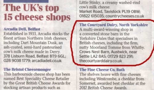 Top UK Cheese shops - The Times